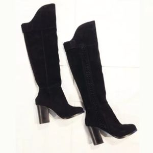 DOLCE VITA THIGH HIGH SUEDE BRAIDED BOOTS 6